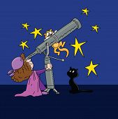 Cartoon Astrologer Looking At The Star Positions In The Sky With A Telescope At Night Time Vector Il poster