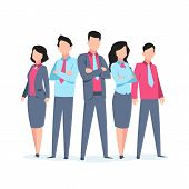 Business Characters Team Work. Office People Corporate Employee Cartoon Teamwork Communication. Flat poster