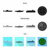 Vector Illustration Of War  And Ship Icon. Collection Of War  And Fleet Vector Icon For Stock. poster