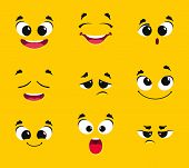 Cartoon Faces Collection. Different Emotions Smile Joy Surprise Sadness Anger Longing Fright Vector  poster