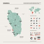 Vector Map Of Dominica.  High Detailed Country Map With Division, Cities And Capital Roseau. Politic poster