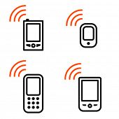 Mobile phone set. Icons are aligned according to the pixel grid. It means that the images are prepar