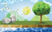 Polygon Vector : Ecology Of Wind Farm Use Alternative Energy From Many Sources Such As Energy From T poster