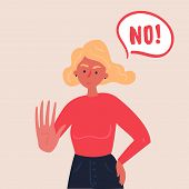 Portrait Of Blond Woman Expressing Denial No Wtih Her Hand And In The Speech Bubble. Stop Domestic V poster