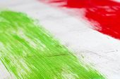 Italy. Italian flag painted with three vertical brush strokes on white background. poster