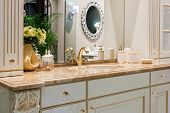 Retro Golden Faucet In The Classic Nterior Of Retro Style Bathroom poster