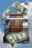 picture of cash register  - dollar bills and cash register suspended in clouds - JPG