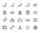 Pet Shop Flat Line Icons Set. Dog Carrier, Cat Scratcher, Bird Cage, Rabbit, Fish Aquarium, Pets Paw poster