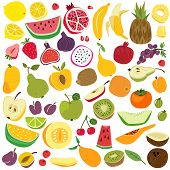 Fruits Set. Cute Fruit Lemon Watermelon Banana Cherry Pineapple Apple Pear Strawberry Fresh Colorful poster