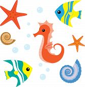 Cartoon sea life conjunto 1