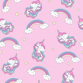 Fashion Illustration Drawing In Modern Style For Clothes. Pattern With Unicorn And Rainbow. Trendy S poster