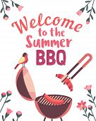 Summer Barbecue Picnic Vector Welcome Poster. Grilled Smoked Sausages On Grill Cute Cartoon. Bbq Gri poster