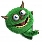 image of monsters  - 3d cartoon cute green furry alien monster - JPG