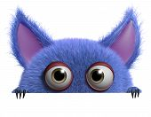 stock photo of gremlins  - 3 d cartoon cute furry gremlin monster - JPG