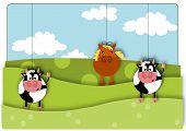 Animals marionette - rural view summer day.
