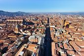 View From Asinelli Tower On Strada Maggiore In Bologna