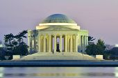 Jefferson Memorial silhouette at sunset with mirror reflection on water, Washington DC United States