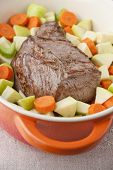 picture of dutch oven  - Beef Roast prepared with carrots apples and celery in french oven - JPG