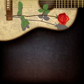 Abstract Grunge Background With Rose And Guitar