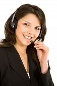 picture of telephone operator  - business customer support operator woman smiling  - JPG