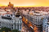 pic of world-famous  - Panoramic aerial view of Gran Via main shopping street in Madrid capital of Spain Europe - JPG