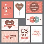 Happy valentine's day and weeding postcards