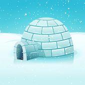 stock photo of igloo  - Illustration of a cartoon eskimo igloo inside white snowy polar winter landscape - JPG