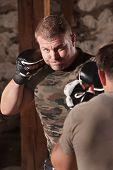 Mixed Martial Artist Throws Jab
