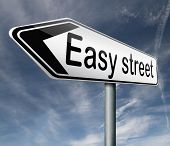easy street road sign indicating easy solutions or a way to avoid problems safe way taking risk comfortable comfort zone secure route safe way