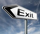 exit road sign arrow the way out to the finish exit door emergency door escape route leaving emergen