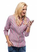 Angry Woman Yelling Into Phone