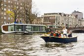 Amsterdam, The Netherlands - November, 18, 2012 - Trumpeter Playing On A Boat