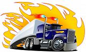 stock photo of semi  - Vector Cartoon Semi Truck - JPG
