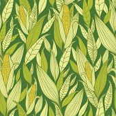 Corn plants seamless pattern background