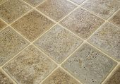 stock photo of linoleum  - Linoleum tile flooring for kitchen floor or other - JPG