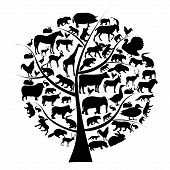 Vector set of animals silhouette on tree.