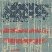 The American flag print against a wooden wall. Raster version, vector file available in portfolio.