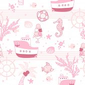 cute marine seamless pattern