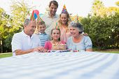 Happy extended family celebrating little girls birthday outside at picnic table