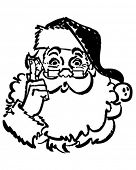 Santa Pointing Up - Retro Clip Art Illustration