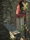 Old Red Door Frame