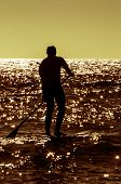 Silhouette Paddle Board Surfer
