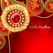 foto of rakhi  - beautiful golden rakhi with space for your text - JPG