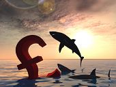 High resolution conceptual bloody pound symbol or sign sinking in water or sea, with black sharks eating, metaphor or concept for crisis in Europe, ideal for financial,business or currency designs