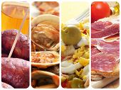 a collage of four pictures of different spanish tapas and dishes, such as chorizos, almejas, stuffed
