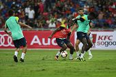 KUALA LUMPUR - AUGUST 9: FC Barcelona 's players practice during training at the Bukit Jalil Nationa