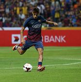 KUALA LUMPUR - AUGUST 10: FC Barcelona's player Neymar strikes during warm-up before the match again