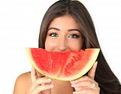 picture of watermelon slices  - Beautiful smiling young woman with a slice of watermelon - JPG