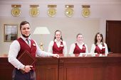 MOSCOW - MAY 22: Receptionists at counter for guests in Bogorodino hotel, on May 22, 2013 in Moscow,