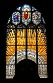 PARIS, FRANCE - NOV 07, 2012: Christ in Majesty , stained glass, Church of St. Gervais and St. Prota